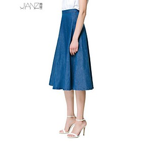 Women's Vintage/Beach/Casual/Cute/Party/Work/Plus Sizes Micro-elastic Medium Knee-length Skirts (Denim) plus size,  plus size fashion plus size appare