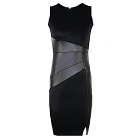 Women's Bodycon Inelastic Sleeveless Knee-length Dress (Polyester)