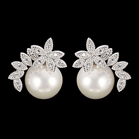 Women's Drop Earrings - Pearl, Cubic Zirconia Fashion Silver For Daily