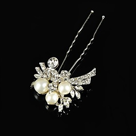 Vintage Wedding Party Bride Flower Austria Crystal Silver HeadPin Hair Accessories plus size,  plus size fashion plus size appare