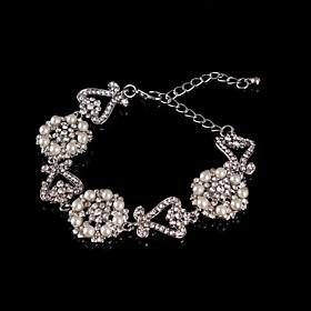Vintage Luxurious Round Diamond Pearl Flower Silver Bracelet For Women Lades Bridal Birthday GIft Party Wedding Heart