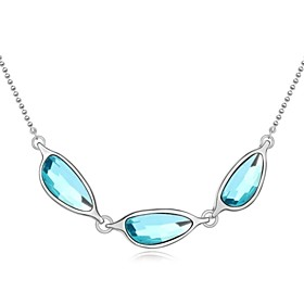 Listen to Sea Short Necklace Plated with 18K True Platinum Aquamarine Crysta..
