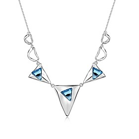Everywhere Short Necklace Plated with 18K True Platinum Aquamarine Crystalli..
