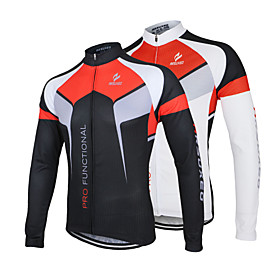 Arsuxeo Men's Long Sleeves Cycling Jersey - White Black Bike Jersey Jacket, Quick Dry, Anatomic Design, Breathable 3085858