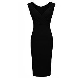 Image of Women's Sexy/Casual Micro-elastic Sleeveless Knee-length Dress (Chiffon)