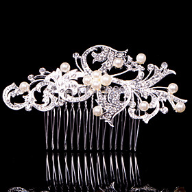 Alloy Hair Combs With Imitation Pearl/Rhinestone Headpiece 3040925