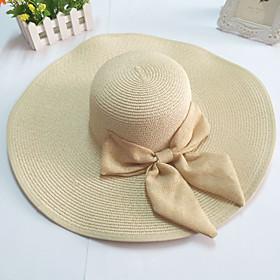 Womens Wide Brim Bow Straw Floppy Hat $7.19 AT vintagedancer.com
