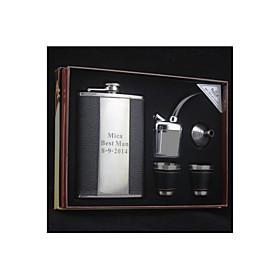 Bruidegom / Stalknecht Gifts Stuk / Set Flacons Klassiek Bruiloft Roestvrij Staal Gepersonaliseerd Flacons Zwart Pvc-Bag