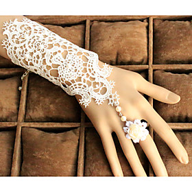 Lace Elbow Length Wedding/Party Glove with Pearl Adjustable Rose Ring(1 PCS)