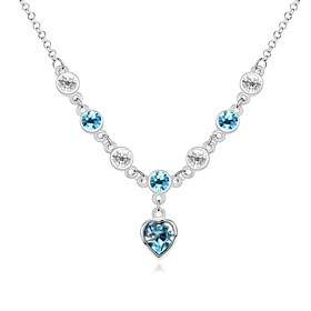 Love You Lifetime Short Necklace Plated with 18K True Platinum Aquamarine Cr..