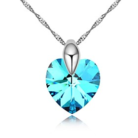 Deep Devotion Short Necklace Plated with 18K True Platinum Aquamarine Crysta..