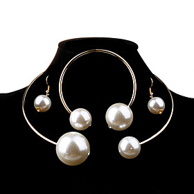 Women's Pearl Jewelry Set Pearl, Imitation Pearl Ball Ladies, Fashion, Elegant, Bridal, Oversized Include Silver / Golden For Wedding Party Birthday Engagement