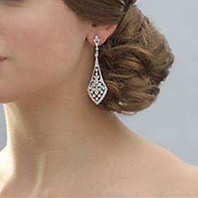 Vintage Women's Silver Crystal long Earring For Birde Wedding