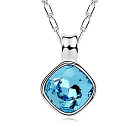 Margaret Short Necklace Plated with 18K True Platinum Aquamarine Crystallize..