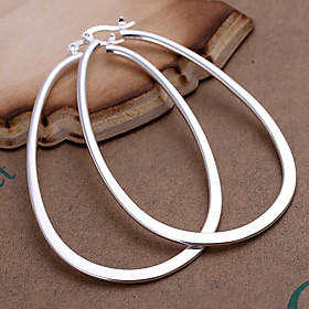 Women's Hoop Earrings - Silver Plated Statement, Fashion Silver For Party Daily Casual