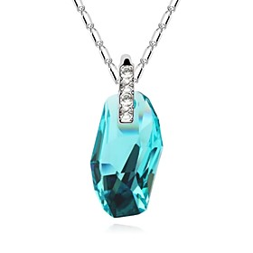 Moonlight Sonata Short Necklace Plated with 18K True Platinum Aquamarine Cry..