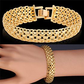 U7 Gold Bracelet Bangle Platinum/18K Real Gold Plated Fancy Pattern Chunky C..