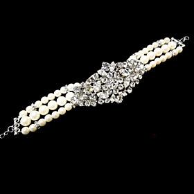 Vintage Luxurious Round Diamond Pearl Wedding Silver Bracelet For Women Lades Bridal Birthday GIft