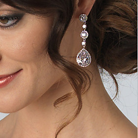 Women's Silver Zircon Crystal long Earring For Birde Wedding