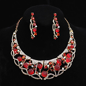 Women's Crystal Jewelry Set - Include Yellow / Red / Pink For Wedding / Part..