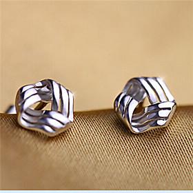 Women's Stud Earrings - Sterling Silver, Silver Love Simple Style, Cute Silv..