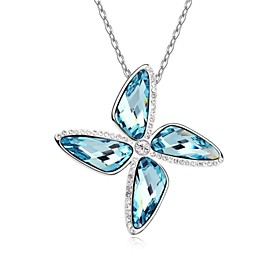 Windmill of Love Short Necklace Plated with 18K True Platinum Aquamarine Cry..