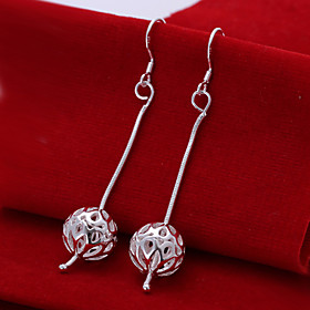 Fashion Round Shaped Silver Plating Snake Chain Hanging Hollow Ball Earrings..