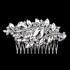 Vintage Wedding Party Bridal Bridesmaid Round Diamond Drop Crystal Hair Comb For Women plus size,  plus size fashion plus size appare