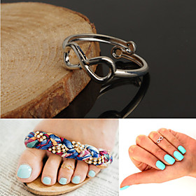 Adjustable Antique Silver Vintage Infinite Toe Ring Body Ring Foot Beach Jewelry (Silver,1 pcs)