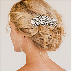 Flashion Charming Wedding Party Bride Branch Crystal Silver Combs Hair Accessories