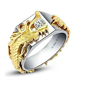 Golden Dragon Pave 0.25CT Men Jewelry Ring Sterling Silver Male Ring SONA Si..