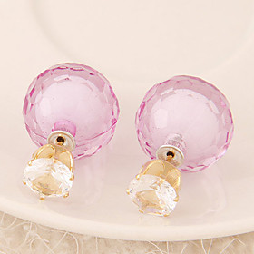 Women's European Style Fashion Candy-colored Shiny Beads Stud Earrings With ..