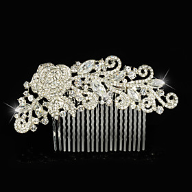 Vintage Wedding Party Bridal Bridesmaid Diamond/Rhinestone/Crystal Rose Flower Bridal Hair Comb For Women plus size,  plus size fashion plus size appare