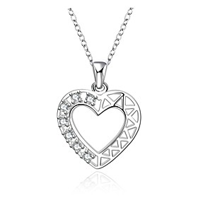 Cremation Jewelry 925 sterling silver Heart Shape with Zircon Pendant Neckla..