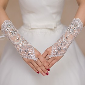 Lace Elbow Length Glove Bridal Gloves / Party / Evening Gloves / Flower Girl Gloves With Rhinestone / Sequin