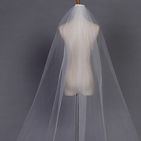 Wedding Veil One-tier Chapel Veils Pencil Edge 110.24 in (280cm) Tulle White / Ivory