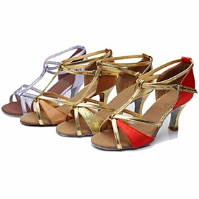 Customizable Women's Dance Shoes Latin/Dance Sneakers Silk/Paillette Customized Heel Brown/Red/Gold/Other