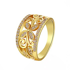 Image of Ring Wedding / Party / Daily Jewelry Zircon / Rhinestone / Gold Plated Women Statement Rings 1pc,7 / 8 Gold / White / Red / Rose Gold