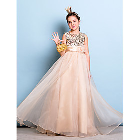 A-Line Jewel Neck Floor Length Organza Sequined Junior Bridesmaid Dress with Sequin Sash / Ribbon Flower by LAN TING BRIDE