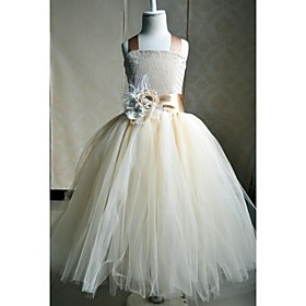 A-Line Ankle Length Flower Girl Dress - Silk Sleeveless Square Neck with Bow(s) Flower(s) Sash / Ribbon Pleats by YDN