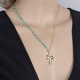 Women's Fashion Shark Teeth Turquoise Beaded Collarbone Necklace