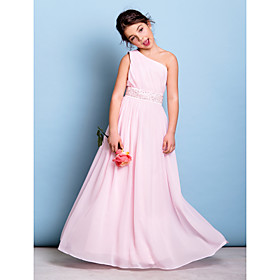 A-Line One Shoulder Floor Length Chiffon Junior Bridesmaid Dress with Beading Sash / Ribbon Side Draping by LAN TING BRIDE