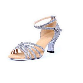 Non Customizable Women's Dance Shoes Latin/Ballroom Sparkling Glitter Chunky Heel Silver/Gold