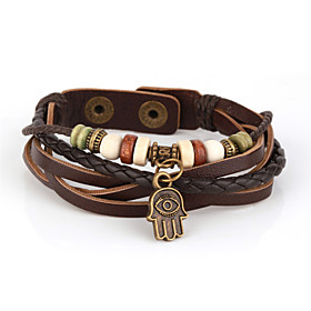 Vilam Vintage Hamsa Wood Bead Brown Handmade Woven Leather Bracelet Jewelry Christmas Gifts