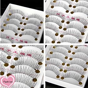 10Pairs Natural Long Black False Eyelash Eyelashes Handmade Individual Lashes Makeup Cotton Stalk Eyelashes Extensions