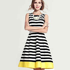 Women's Vintage Causal Striped Spliced Stylish Sleeveless Knee-length Dress
