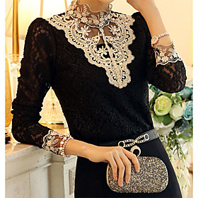 Womens Vintage Stand Collar Lace Splicing Beads Fleece BlouseLong Sleeve Plus Size $10.99 AT vintagedancer.com