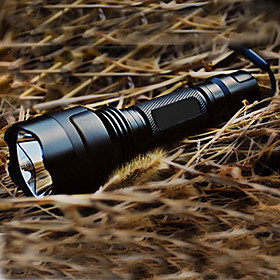 LED Flashlights / Torch LED 200 lm 5 Mode with Battery and Charger Tactical / Rechargeable Camping / Hiking / Caving Black
