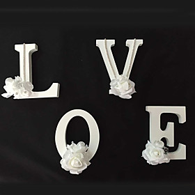 Wedding Décor 26 Freestanding Wood Wooden Flower Letters White Alphabet  Party Home Decorations