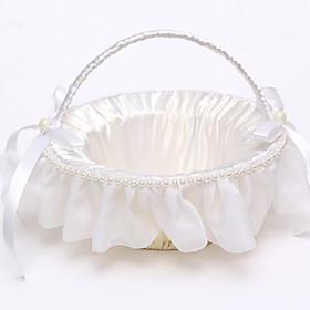Rattan Flower Basket with Imitation Pearl(222222) Flower Girl Basket